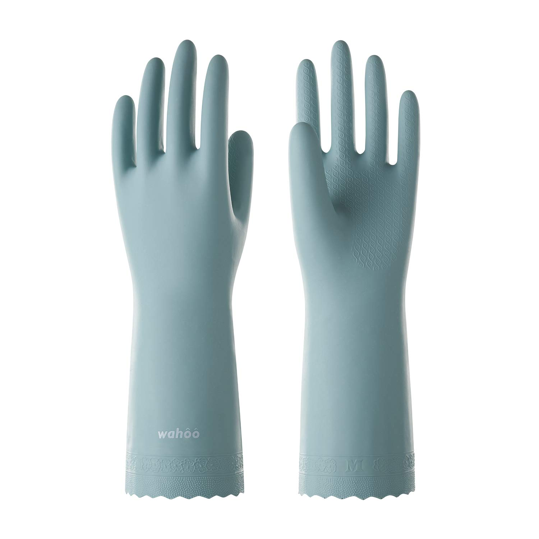 LANON Protection Waterproof Dishwashing Gloves, wahoo PVC Ultra-thin Reusable Household Gloves, Unlined, Non-slip, DEHP Free, Anti-aing, Intertek Listed, Medium
