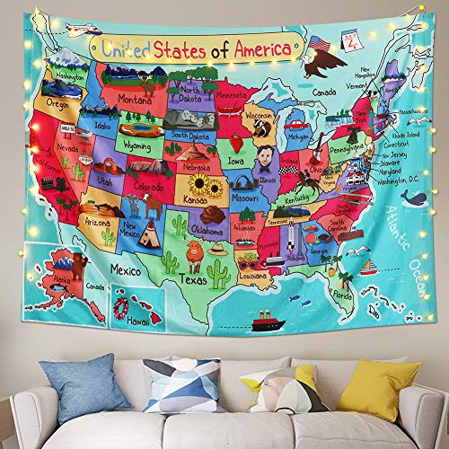 LAVAY Tapestry United States Map Cartoon America USA State Distribution Colorful Educational Tapestry Wall Hanging Kids Bedroom Nursery Classroom Decor (L:58