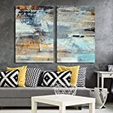 wall26 - 2 Panel Canvas Wall Art - Abstract Grunge Color Composition - Giclee Print Gallery Wrap Modern Home Decor Ready to Hang - 16'x24' x 2 Panels