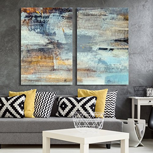 (wall26 - 2 Panel Canvas Wall Art - Abstract Grunge Color Composition - Giclee Print Gallery Wrap Modern Home Decor Ready to Hang - 24