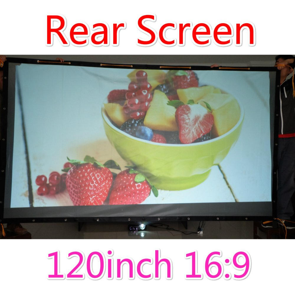Rear Projection Screen Film, 3D PVC Projector Screen Finished Edge Projector Screen with Grommets for Outdoor Indoor Movies (16:9 72-300 inch) (120 inch 282x155cm)