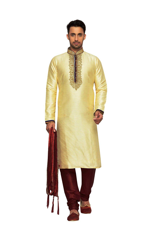 Indian Kurta Pajama Men Wedding Clothing Designer Dress Partywear Outfit In Gold Doby Dupion