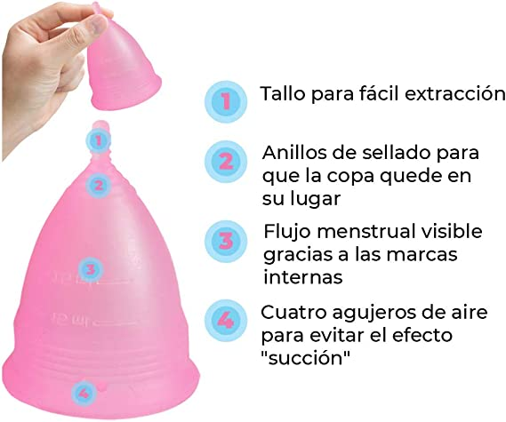 Femme Essentials Copa Menstrual + Bolsa de Algodón   100% de Silicona Hipoalergénica para Uso Médico   Ecológica, Segura, Cómoda y Higiénica   Tamaño: ...