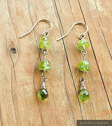 Green Natural Peridot Drop Earrings in 14K Gold Filled French Ear Wire Petite -