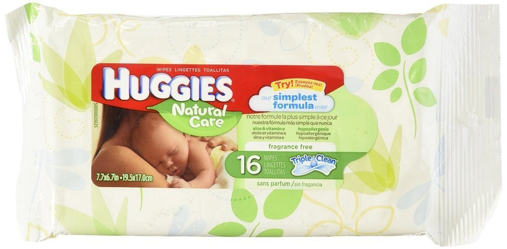Baby Wipes, Huggies Wipes, Natural Care Fragrance Free, Wipes, 16 Count, *6 Pack*