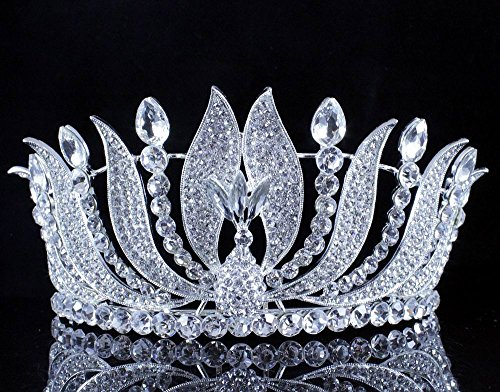 Janefashions Phoenix Clear Austrian Crystal Rhinestone Tiara with Hair Combs Crown Veil Headpiece headband Theater Party Cake Topper Pageant Prom Bridal Queen Princess Tiaras Silver -