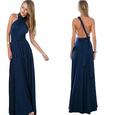 cdd1cbee8730e osierr6 Womens Long Bridesmaid One Shoulder Convertible Wrap Cocktail Maxi  Dress (L,Deep Blue