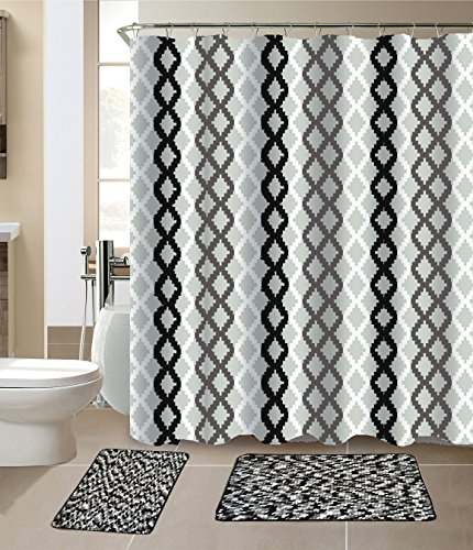 Chenille Set Curtain (Luxury Home Collection 15 Pc Bath Rug Set ChennileWith High Piles Multi color Non-Slip Bathroom Rug Mats And Shower Curtain And Rings