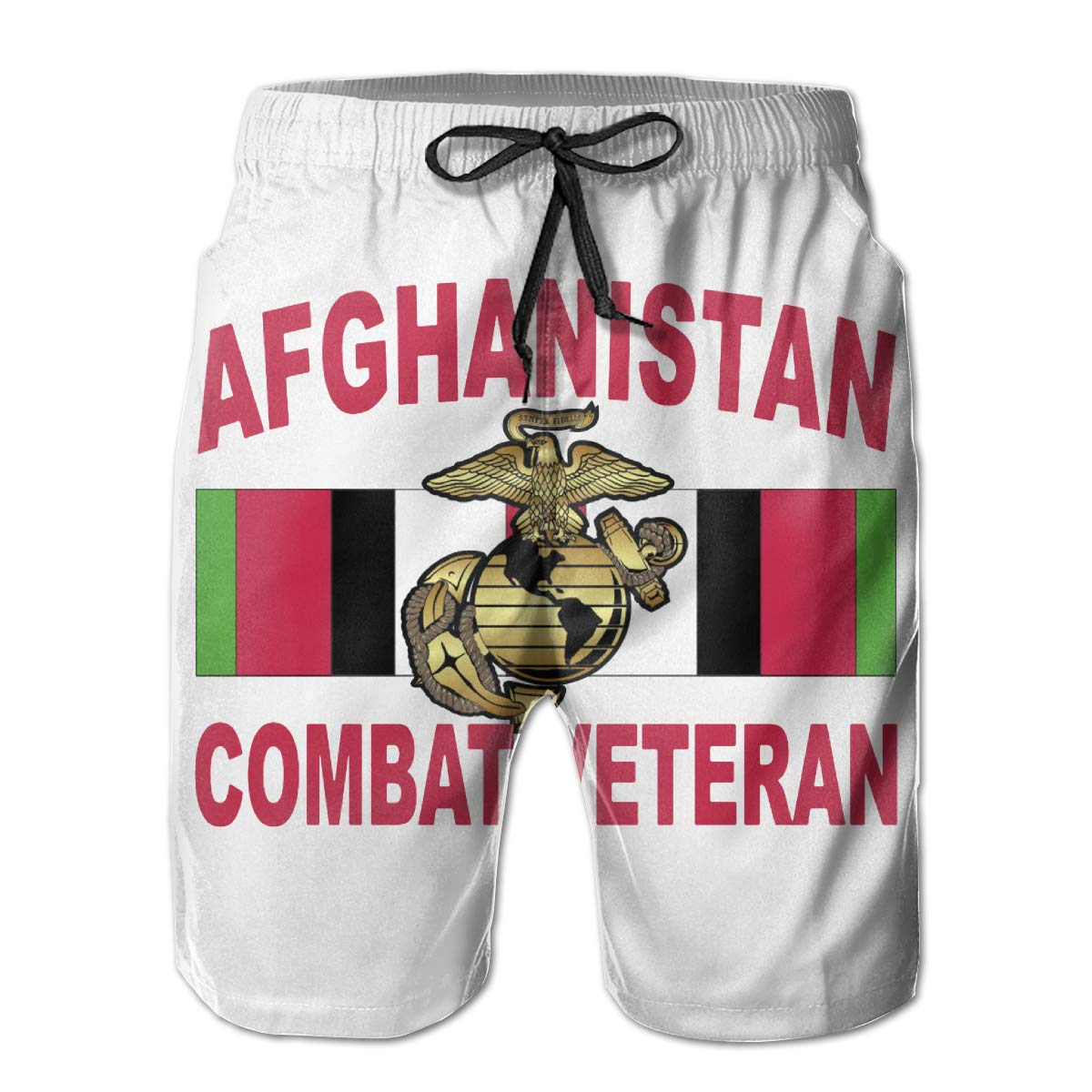USMC Eagle Globe and Anchor Afghanistan Veteran Men Swim Trunks Quick Dry Waterproof Beach Pants Beach Board Shorts