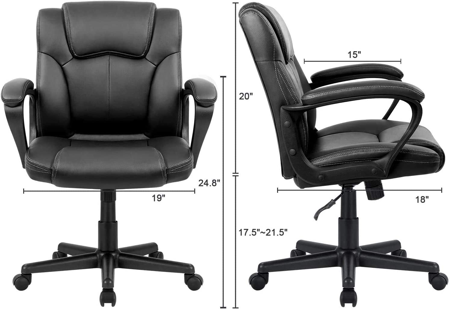 GO DEEP 365 Ergonomic PU Desk Task Executive Chair Big and Tall Office Chair