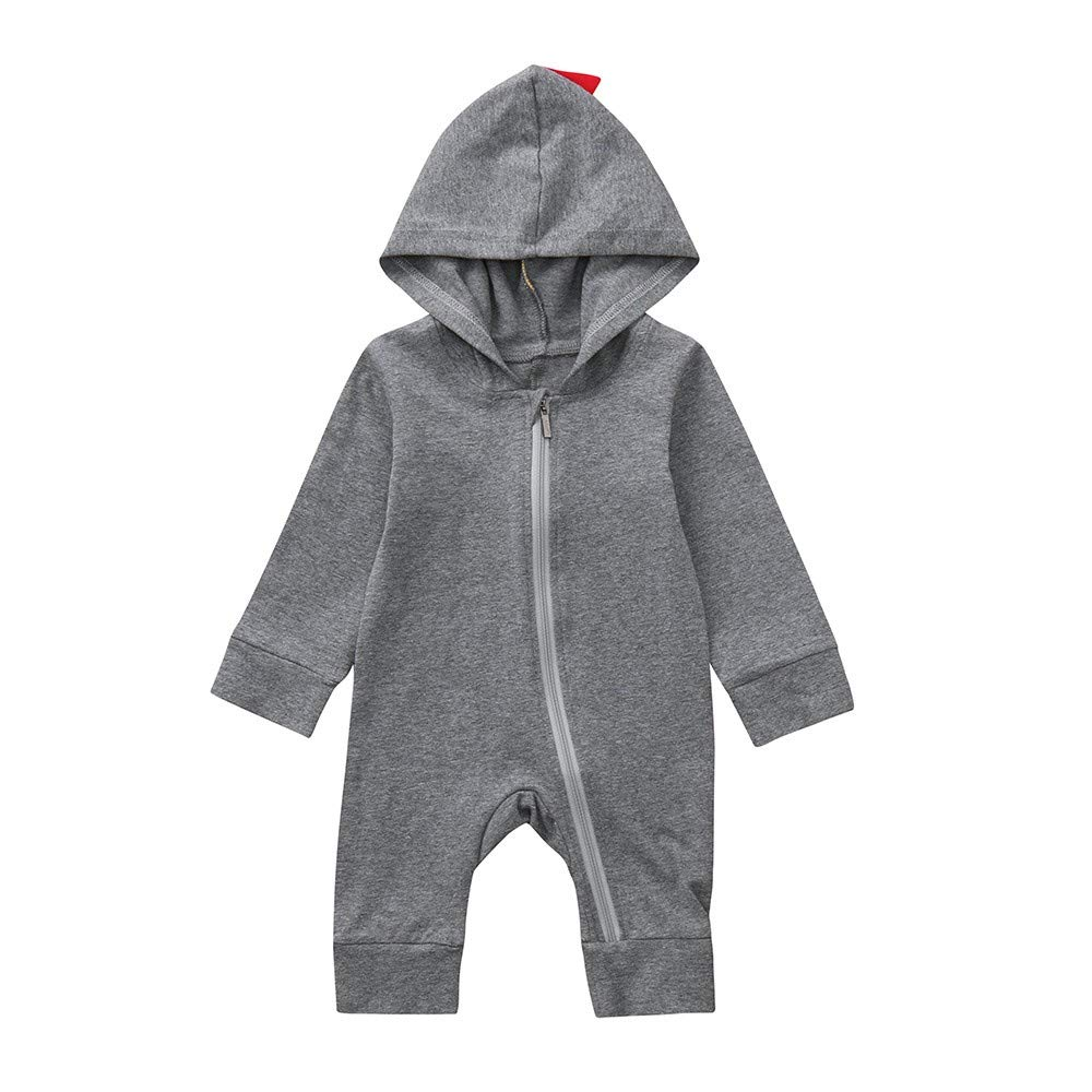 MOIKA Infant Baby Clothes 6-24Months Baby Boys Girls Unisex Dinosaur Zipper Hooded Romper Cotton Blend Jumpsuit Outfits