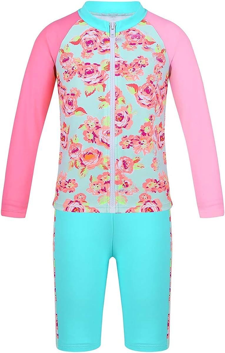 Agoky Baby Girls Rash Guard UV Sun Protection Swimsuit Two-Piece Tankini Set Beachwear