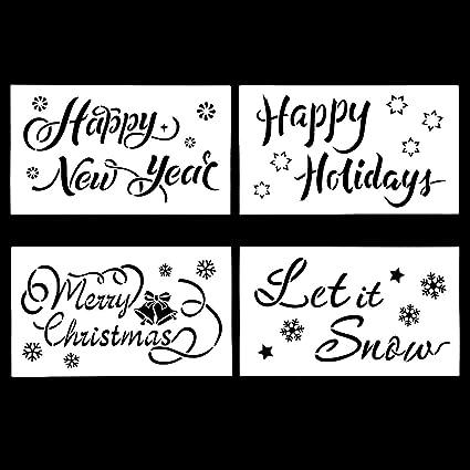SNOW XMAS TEXT MERRY CHRISTMAS STENCIL WINDOW DISPLAY CARDS DECORATION SPRAY