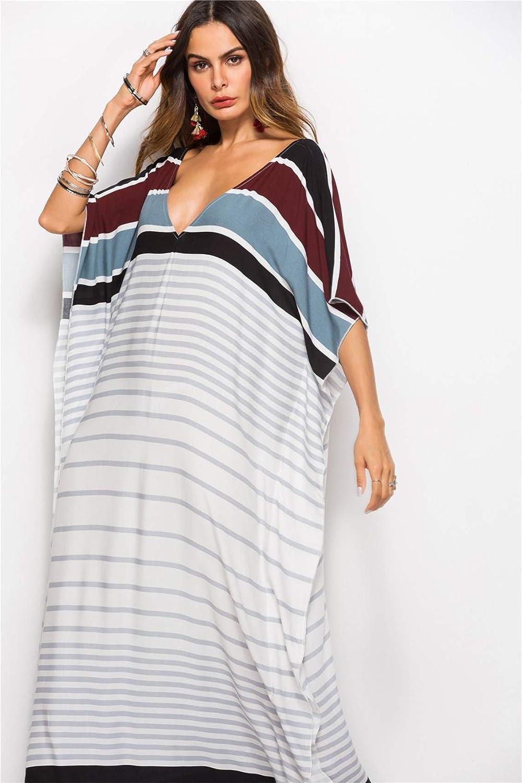 87554101c48 Half Sleeve Batwing Dolman Sleeve Deep V Neck Striped Stripe Long Maxi  Straight Swing Trapeze Dress White Black at Amazon Women s Clothing store