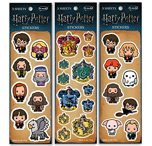 Re-marks Harry Potter Sticker Sheet (3 pack) – 3 Sheets Each Wizards, Crest, Hogwarts (9 Sheets Total)