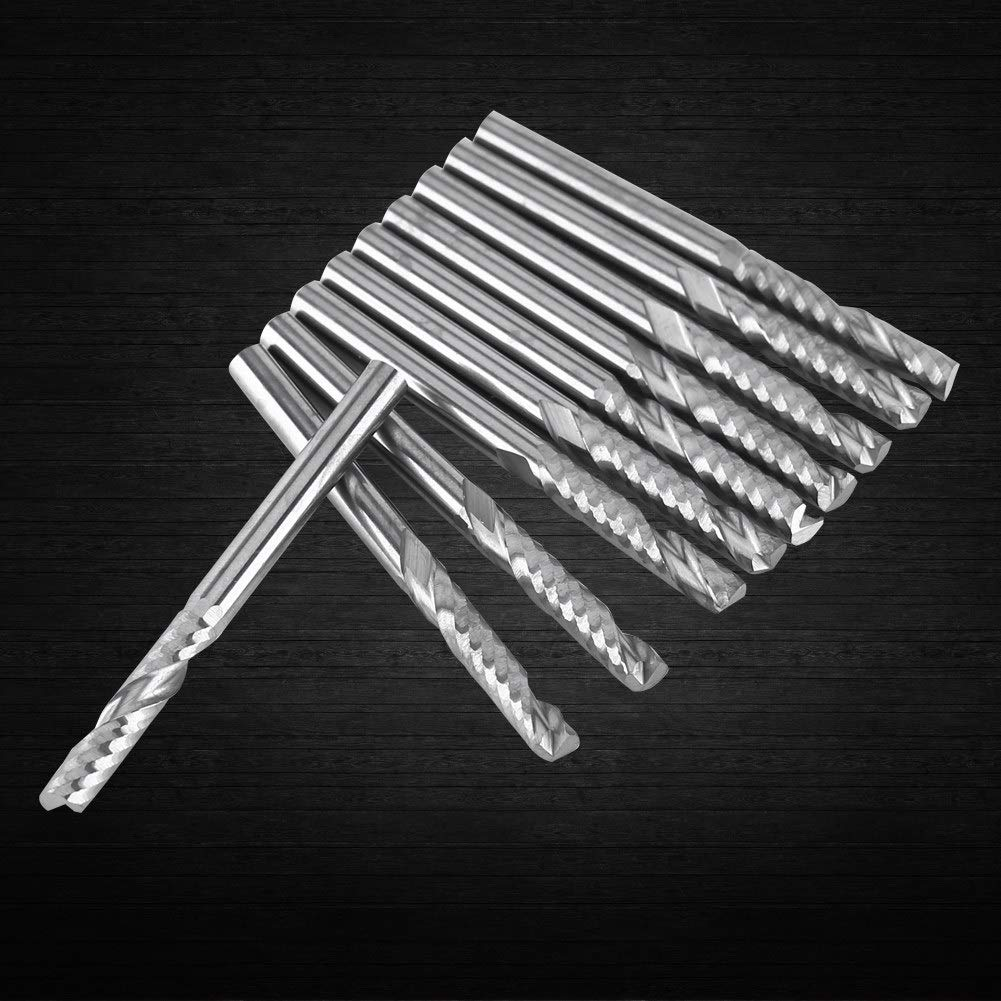 10pcs Frese in carburo di tungsteno Frese a spirale CNC Router Bit Flauto unico End Mill 4mm Shank End Millling Cutter
