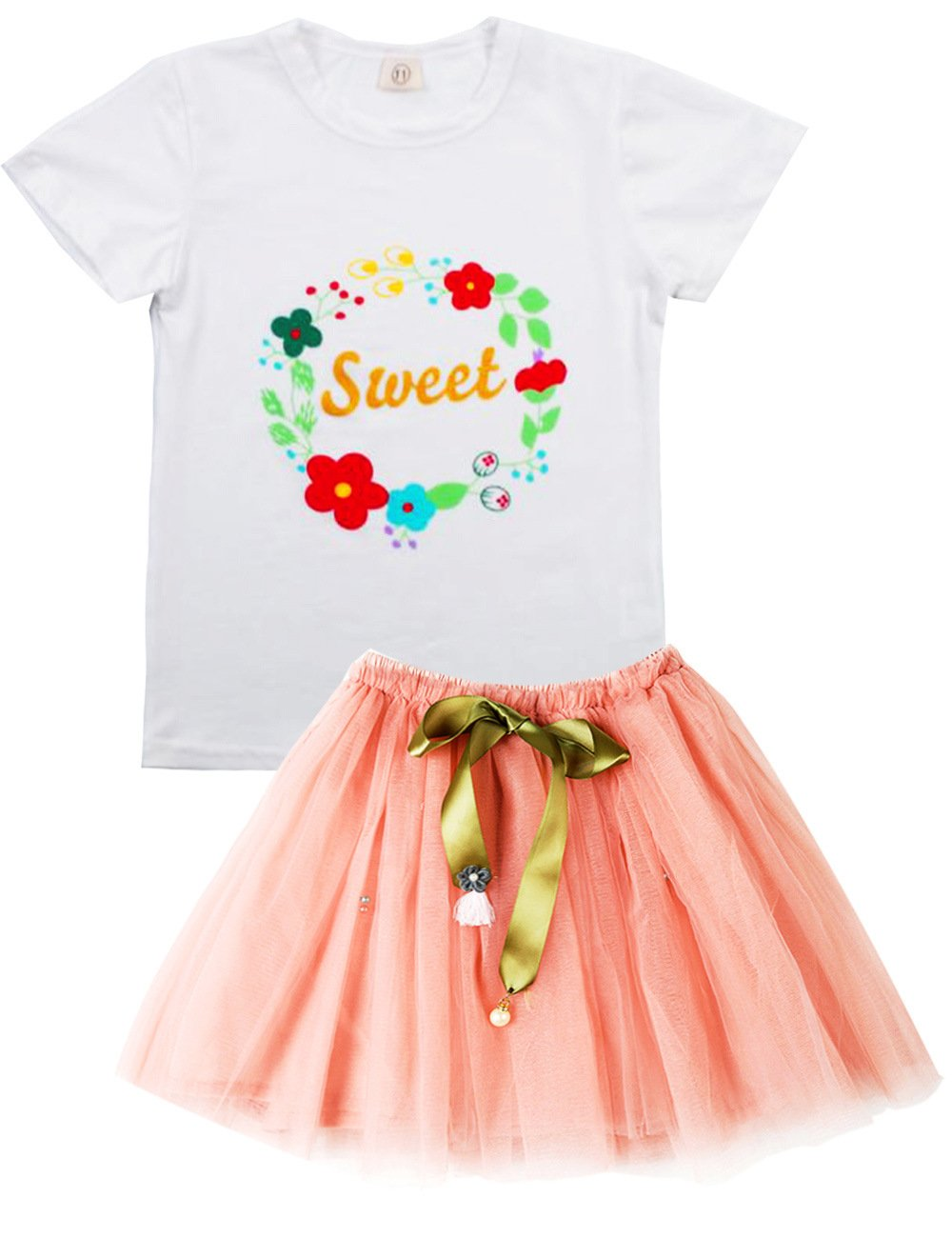 Spring&Gege Little Girls' Clothes Cute Toddler Kids Outfits, Summer Skirt Set Floral Print, Size 7-8 Years, Pink