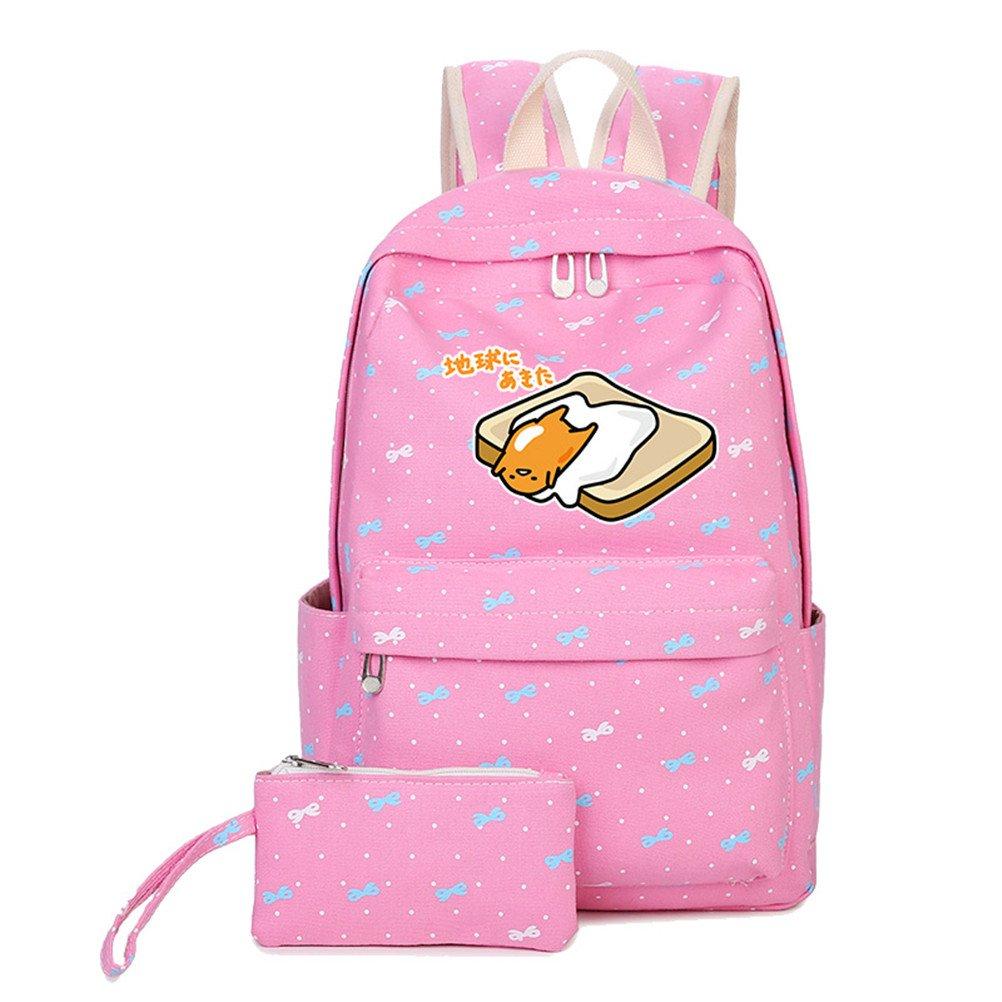 Siawasey Cute Gudetama Lazy Egg Cosplay Backpack Bookbag School Bag for teenagers (Pink1)