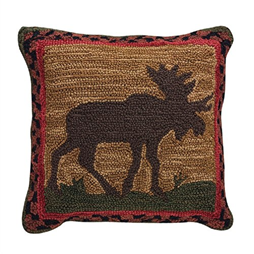 Park Designs Moose Hooked 18 Inches Cotton Pillow Set Polyester Fill Bedroom Accessories