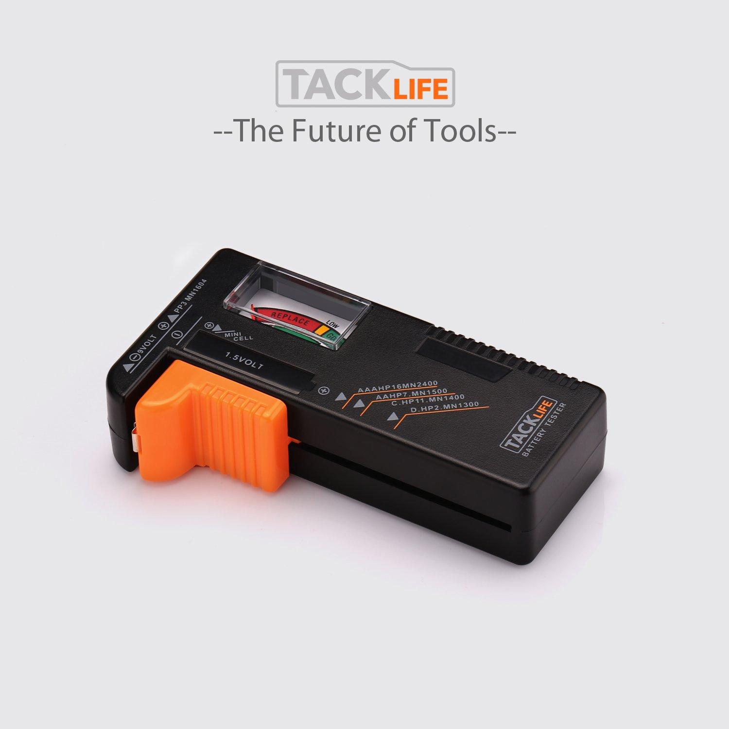 Tacklife MBT01 Universal Battery Checker for AA AAA C D 9V 1.5V Button Cell Batteries Battery Tester Digital Battery Tester Volt Checker Tool with 24 Months Warranty