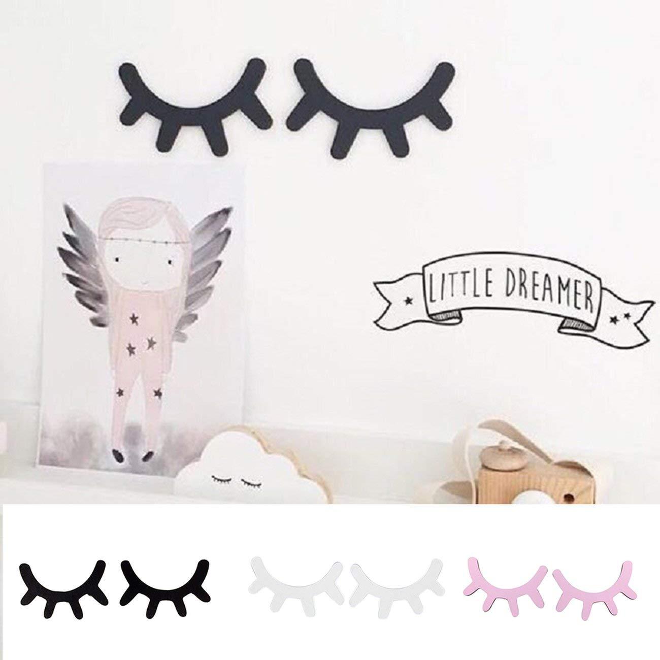 Dibujos animados 3D etiqueta de la pared de madera DIY linda pesta/ña cerrada ojo pared calcoman/ía para ni/ños beb/és hogar decoraci/ón de la sala de estar