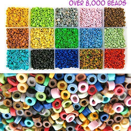 Over 8,000 Ceramic Tube Beads for Jewelry Making with Free Genuine Leather Cord Necklace - Handmade Colorful Premium Quality Craft Bead Kit - Unique Craft ()