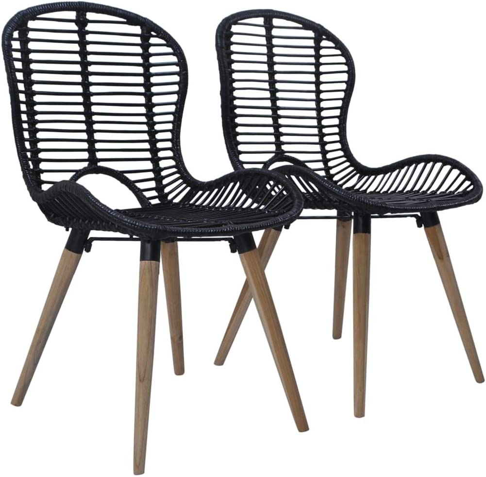 Festnight Outdoor Dining Chairs 8 pcs Natural Rattan 8x8x8 cm