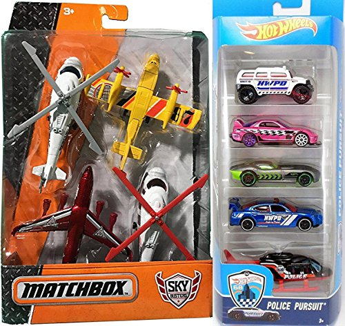 Police Pursuit Hot Wheels Ground & Air Matchbox Sky Busters Fire Rescue Planes + Helicopters Rescue Mission / Hot Wheels (Bell Hot Wheels)