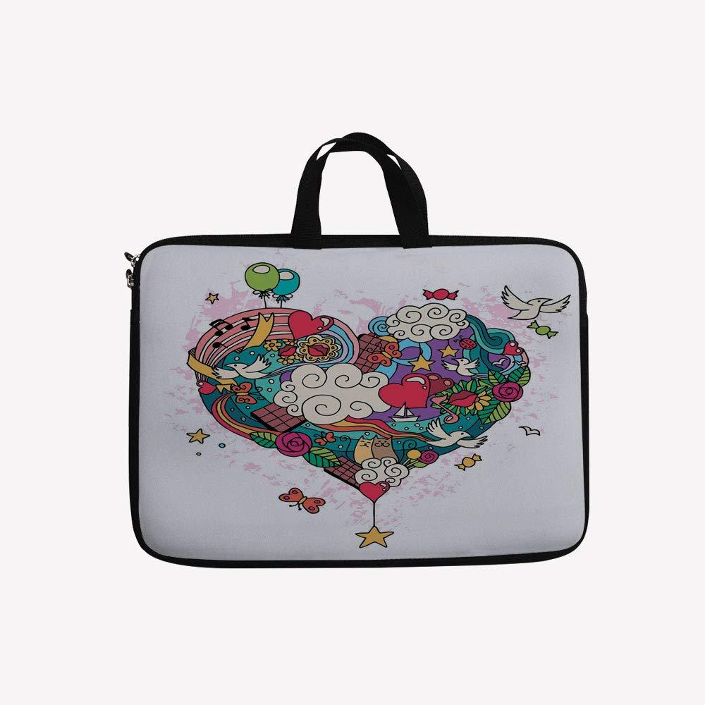 3Dプリントダブルジッパーラップトップバッグ、Hearts Clouds Lovely Cats and Birds Baloons Giant、17インチキャンバス防水ラップトップショルダーバッグ、17インチ/ 17.3インチノートパソコンと互換性あり 17 inch(16.7