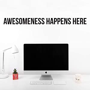 """Vinyl Wall Art Decal - Awesomeness Happens Here - 5"""" X 60"""" - Inspirational Positive Self Esteem Quote Sticker for Bedroom Closet Living Room Kids Room Playroom Office Decor"""