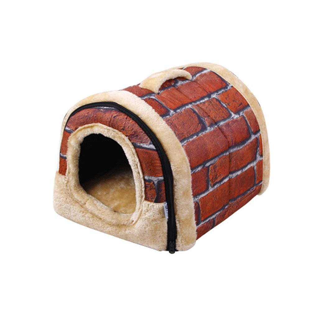 RED LHUIFA Pet Supplies, Removable And Washable Pet Room, Dualuse Nest, Pet Bed, Cat Litter, Pet Mat (color   bluee, Size   M)