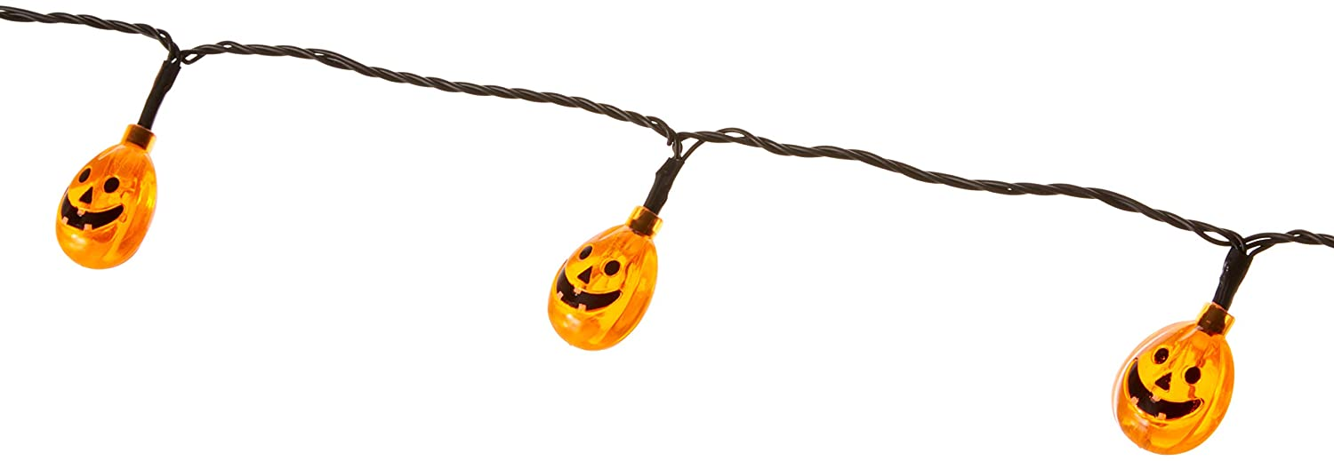 8-Feet ProductWorks 91869 Product Works UltraLED Battery Operated Jack-O-Lantern Cap Twinkle Light String