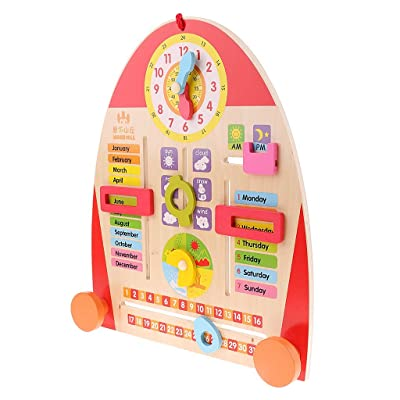 Gulakey Wood Calendar Board Teaching Clock for Toddlers Kids Early Learning Educational Toys: Home Improvement