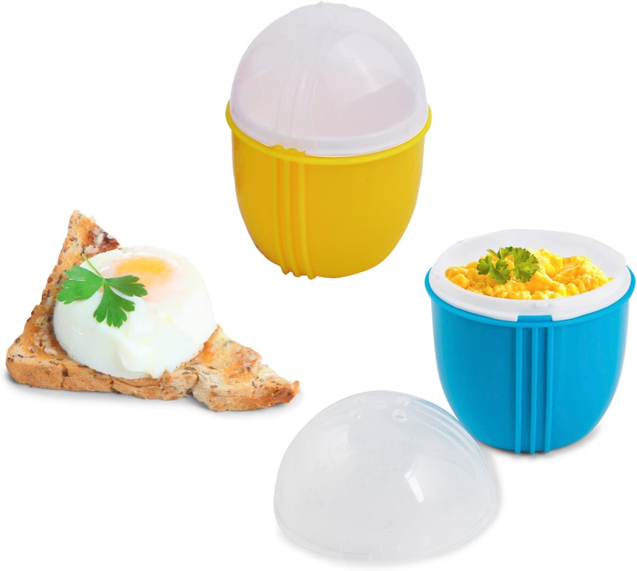 Zap Chef Microwave Egg Cooker Pack of 2, Healthy Scrambled Eggs,1 Minute Egg Poacher, Cool Touch Omlette Maker, 100% Food Safe BPA Free, Color May Vary