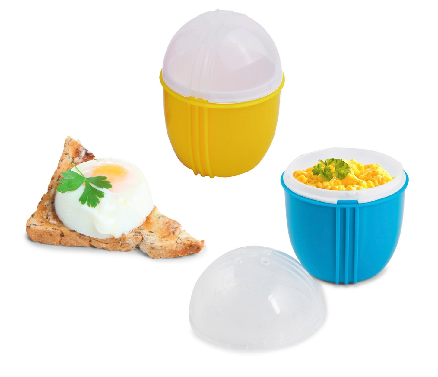Zap Chef Microwave Egg Cooker Pack of 2, Healthy Scrambled Eggs,1 Minute Egg Poacher, Cool Touch Omlette Maker, 100% Food Safe BPA Free, Color May Vary by Zap Chef