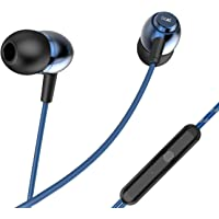 boAt BassHeads 162 with HD Sound, in-line mic, Dual Tone Secure Braided Cable & 3.5mm Angled Jack Wired Earphones (Blue)