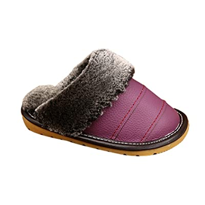 Cattior Toddler Little Kid Warm Kids Slippers Leather Slippers