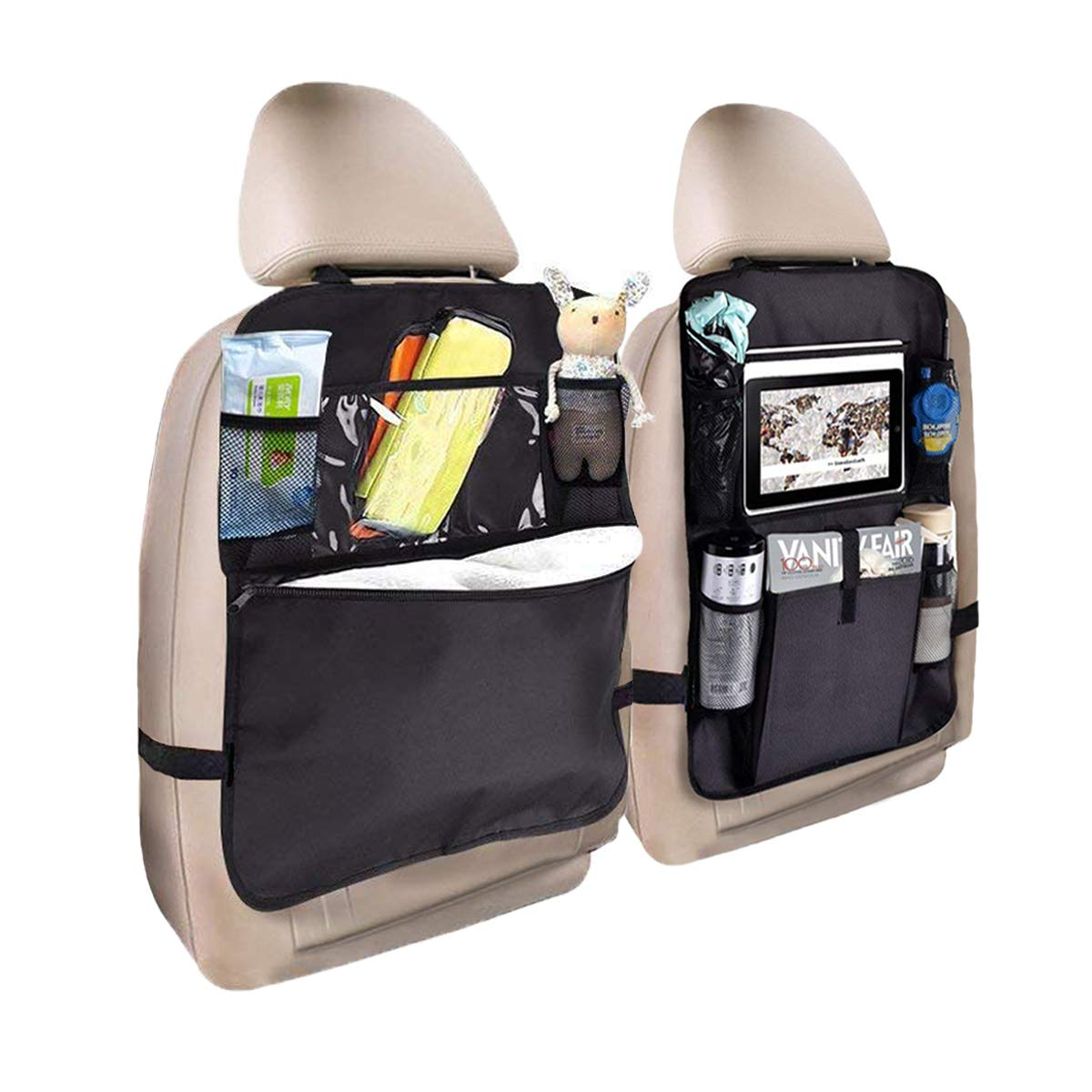 Standard Car Seat Back Organizer Kick Mats Back of Seat Protectors with Clear Window 10' Holder Compatible with Ipad and Multi-Pocket Travel Storage Bag Organizer-2pack OGRUI