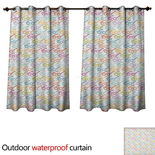 Anshesix Indie Outdoor Curtains for Patio Sheer Colorful Pattern with Classical Old Fashioned Eyeglasses Nerd Smart Hipster Doodle W55 x L72(140cm x - Frames Fred Eyeglasses