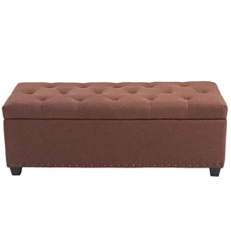 Pleasing Belardo Home 47 6 Rectangular Storage Ottoman Bench With Hinged Lid Footrest Stool Coffee Table Holds Up To 601Lbs Fabric Brown Short Links Chair Design For Home Short Linksinfo