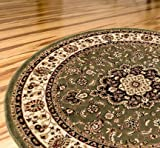 """Persian Classic Green 5'3"""" Round Area Rug Oriental Floral Motif Detailed Classic Pattern Antique Living Dining Room Bedroom Hallway Office Carpet Easy Clean Traditional Soft Plush Quality"""