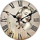 MEISTAR Marilyn Monroe Battery-powered Wall Clock frameless 12 inch Quartz Movement Wall Clockwall clock decorative living room