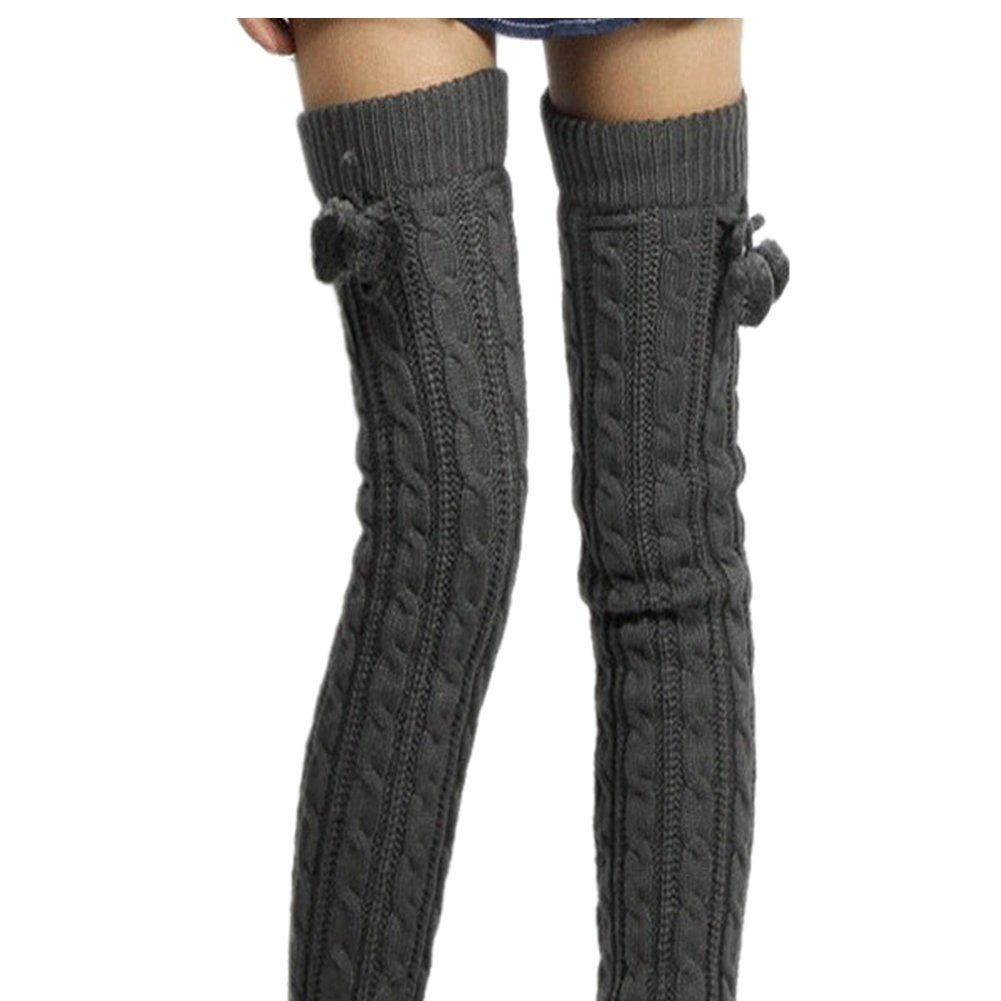 Calcetines largos por encima de la rodilla de punto, tejido acrílico ...