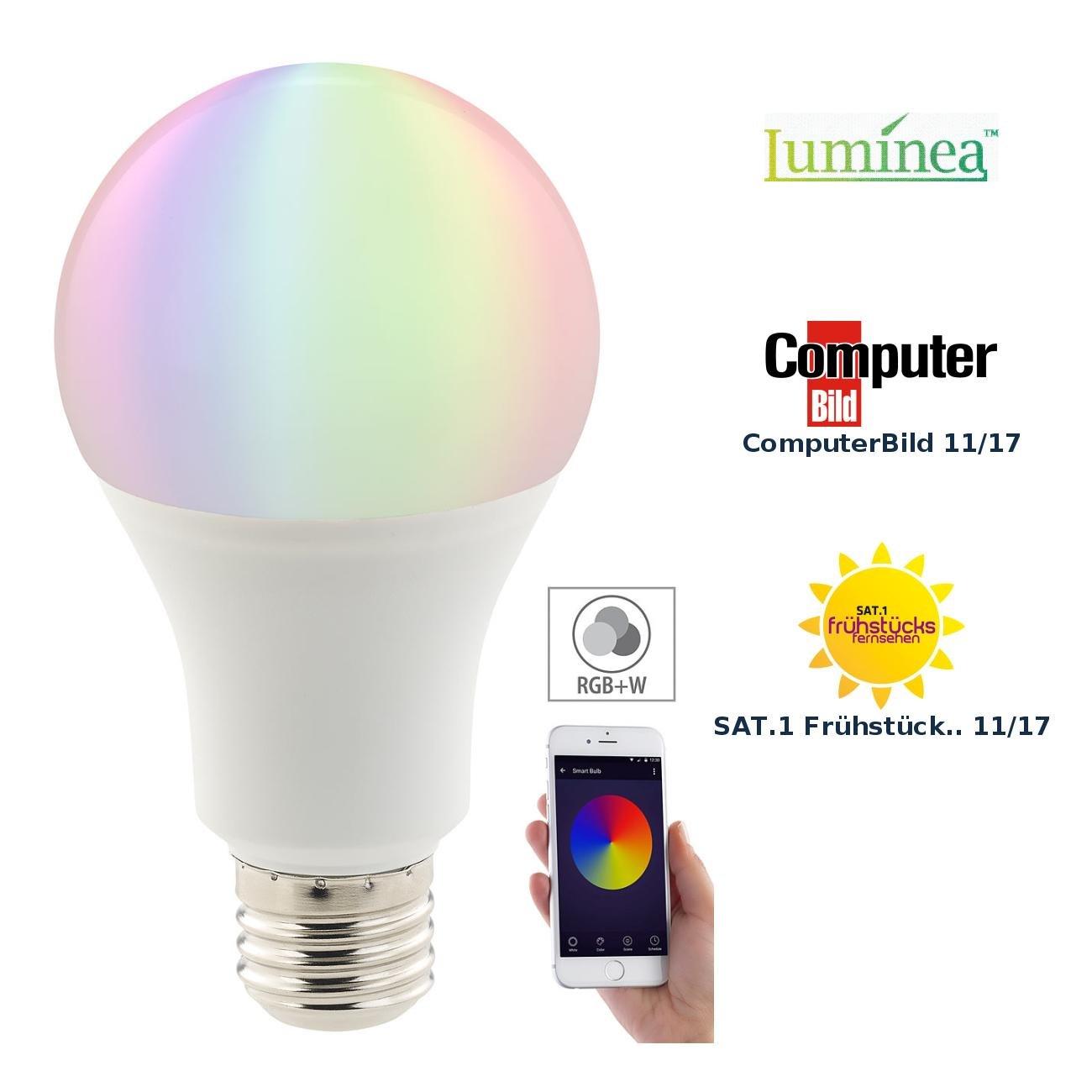 Luminea Home Control WLAN Birne: WLAN-LED-Lampe, komp. mit  Alexa & Google Assistant, E27, RGBW (WLAN Glü hbirne)