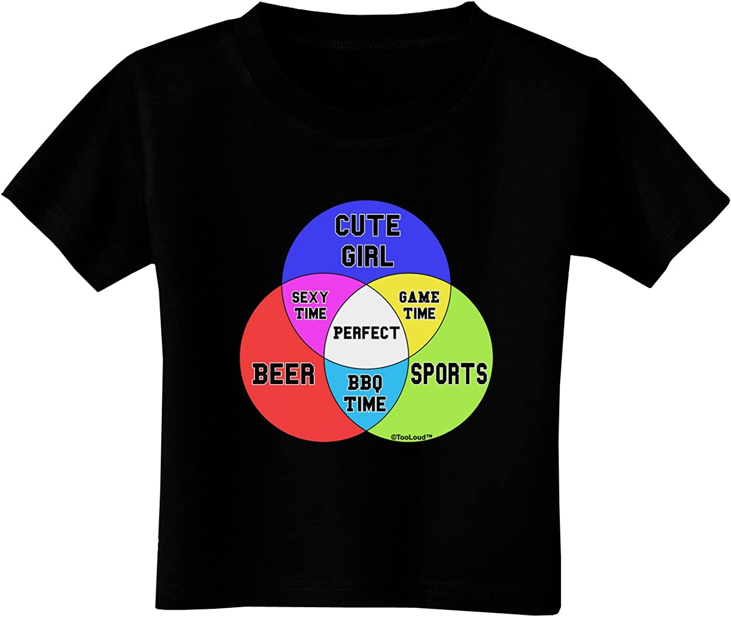 TOOLOUD Beer Girl and Sports Diagram Toddler T-Shirt Dark