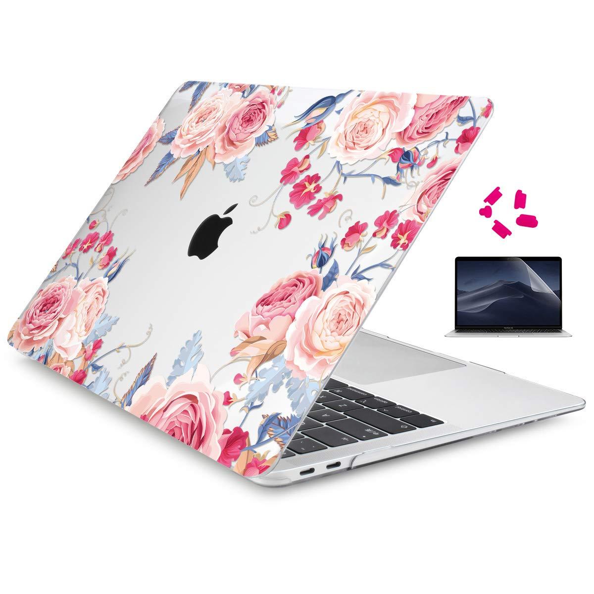 Cover per MacBook Air 13 2018 Marmo blu Custodia Rigida Copertina con Proteggi Schermo per nuovo MacBook Air 13.3 A1932 con Touch ID /& Retina