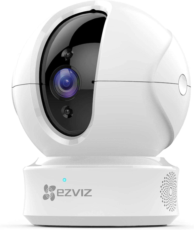 EZVIZ Cámara de Vigilancia WiFi Interior 1080P, PTZ Cámara de Seguridad con Visión Nocturna, Auto Seguimiento de Movimiento, Monitor de Bebé, Audio Bidireccional, Compatible con Alexa, CTQ6C Blanco
