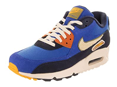 75d6509254b59 Nike Men's Air Max 90 Premium SE Running Shoes, Game Royal/Light  Cream-Camper Green, 11.5