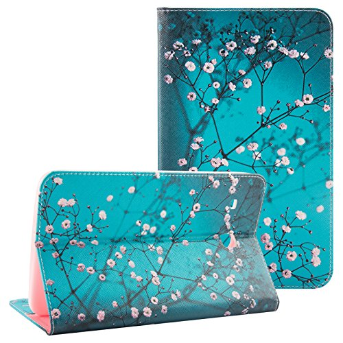 Galaxy Tab E 8.0 Case - UUcovers Ultra Slim Lightweight PU Leather Stand Flip Case [Card Holder] Wallet Case Cover for Samsung Galaxy Tab E 8.0 Inch SM-T377/SM-T375 Tablet, Pear Flower