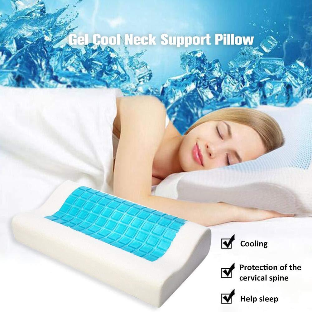 HUVE Almohada de Memoria de Rebote Lento Summer Cool Gel Pillow V/értebra Cervical Respaldo Almohada Cervical para el Dolor de Cuello Almohada ortop/édica